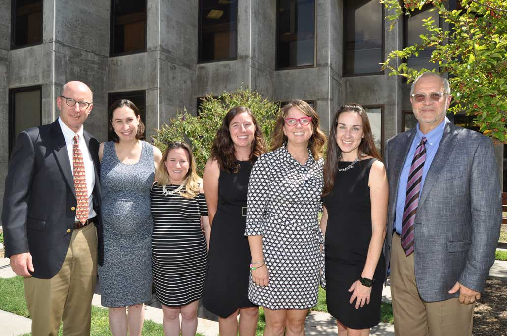 Modrall attorneys attending the Scholarship Luncheon (L to R): Walter Stern, Zoë Lees, Mia Kern Lardy, Ann Brethour, 2017 recipient of the Modrall Scholarship, Deana Bennett, Christina Sheehan, and Stuart Butzier.